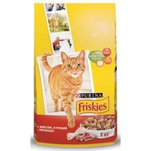 Набор сухой корм Friskies для взрослых кошек с мясом, курицей и печенью, Пакет, 2 кг x 6 шт
