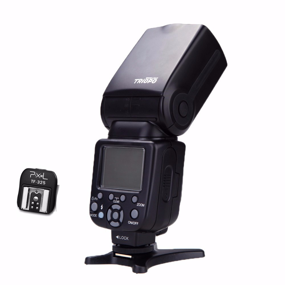 Triopo TR 586EX Flash Speedlight Speedlite with Hot Shoe Adapter for Canon Nikon Sony Alpha A900