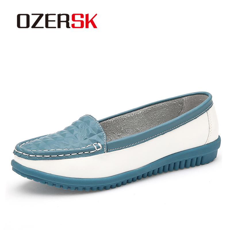 OZERSK New Women's Casual Shoes Cow Leather Woman Flats Shoes Moccasins Female Loafers Slip On Boat Shoes Comfortable Footwear fashion woman casual shoes wild lace up loafers women flats comfortable footwear woman shoes breathable female shoes