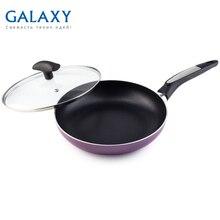 Сковорода с крышкой Galaxy GL 9827 (Материал - алюминий, диаметр 24 см, антипригарное покрытие, термостойкое стекло, индукционное дно)