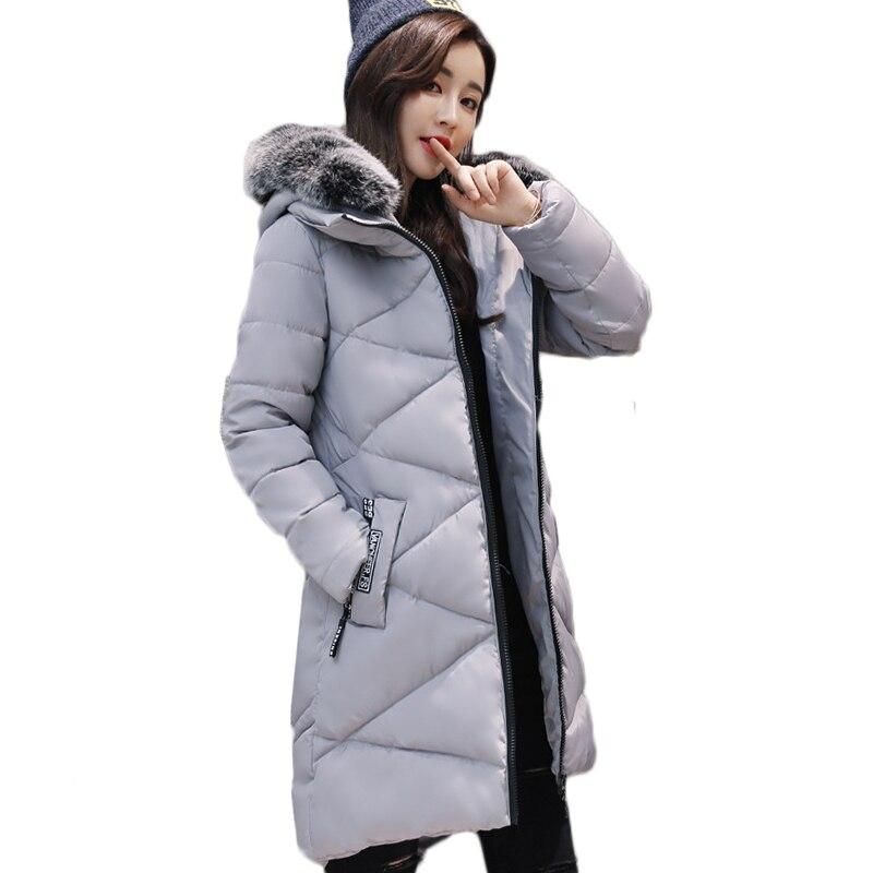 Moda Grosso Inverno Quente Mulheres Jaqueta de Gola De Pele Amassado Casaco Feminino Casaco de Inverno Mulheres Casaco Com Capuz Para Baixo Parka Longo