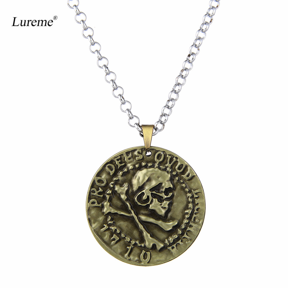 Lureme Vintage Jewelry Uncharted Drake Antique Gold Coin Pendant Necklace for Women Men (nl005620)