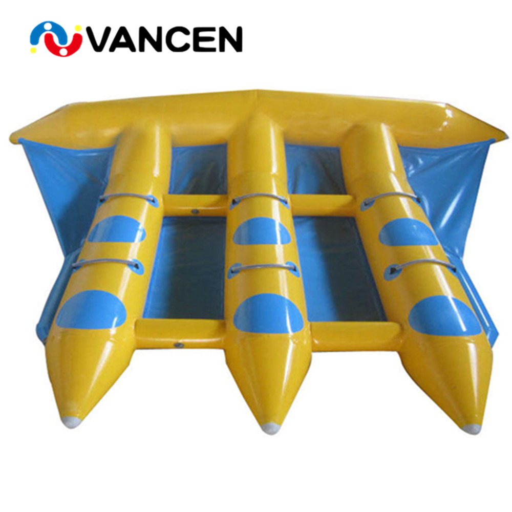 Wholesale price 0.9mm PVC inflatable fishing boats for sale 3*3m 12 person inflatable flying fish boat for adult