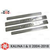 Soleiras da porta para lada kalina 2004 2018 passo placa interior guarnição proteção scuff estilo do carro decoração selo letras versão|Estilo de cromo| |  -
