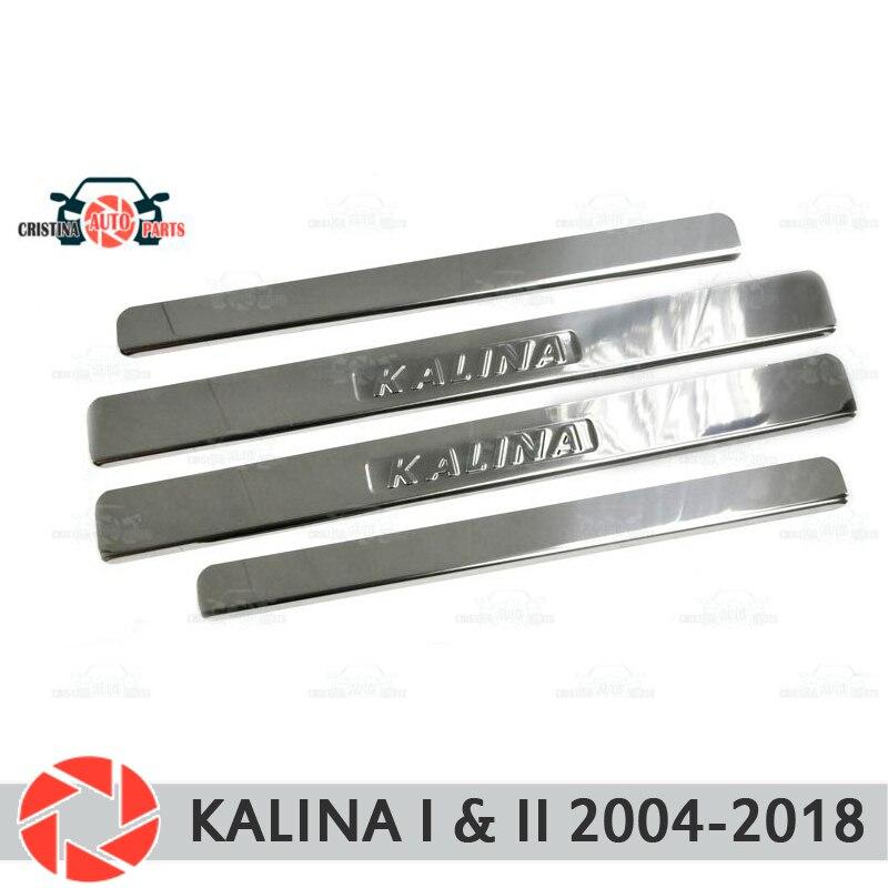 Soleiras de porta para Lada Kalina 2004-2018 proteção guarnição scuff placa passo interior car styling decoração selo letras versão