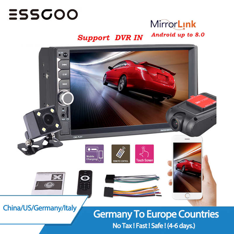 "ESSGOO 7"" 2 Din Car Stereo Radio MP5 Multimedia Player Dual USB Autoradio Bluetooth 4x60W DVR Rear Camera Mirror Link FM Audio"