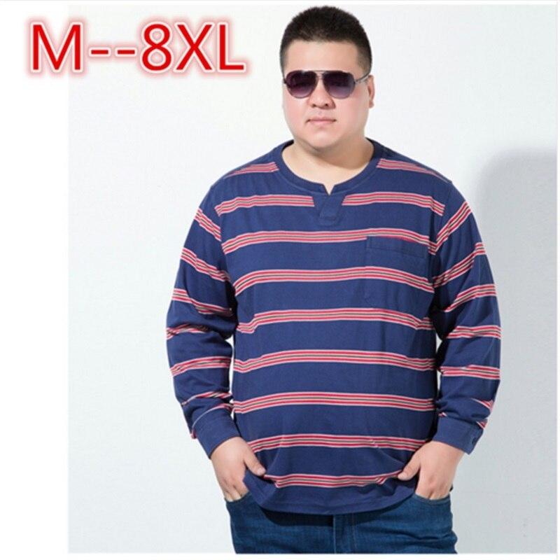Plus size 10XL 8XL 6XL 5XL 2018 New Autumn Winter Mens Long Sleeve T Shirt V Neck Striped T Shirt for Men big large size loose