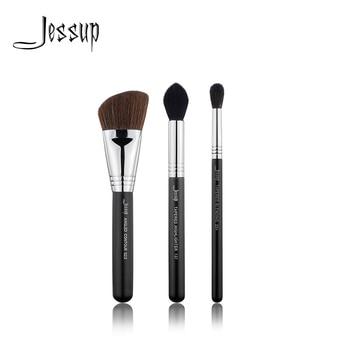 Nuevo juego de 3 uds de brochas de maquillaje Jessup negras/plateadas, herramientas de belleza, maquillaje cosmético, resaltador de mezcla cónico sin escobillas