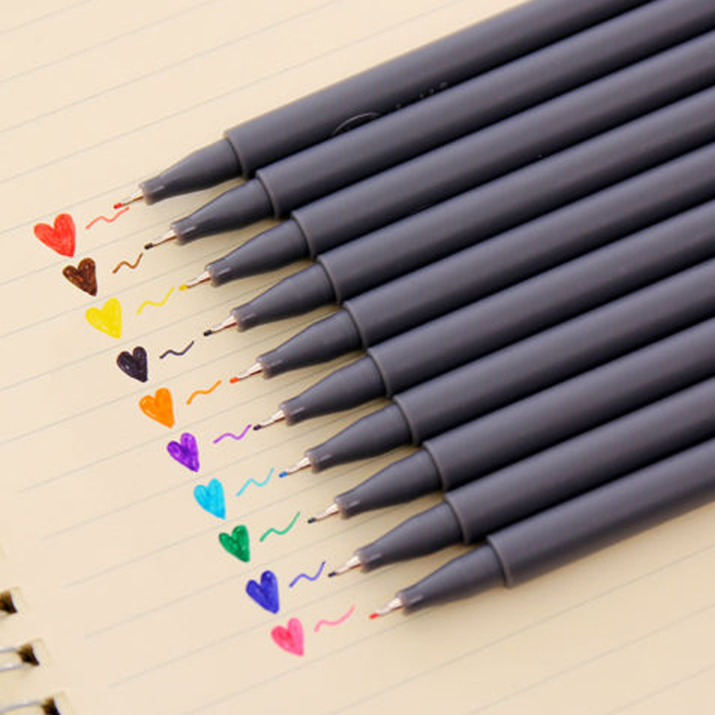 10pcs/set Art Supplies 10 Colors Micron Fine Line Drawing Pen Sketch Pens Hook Line Mark Painting Pens School Stationery