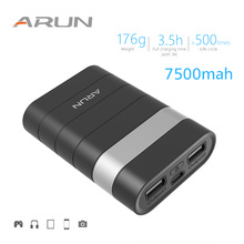 ARUN 7500mah Power Bank External Battery PoverBank 2 USB Powerbank Portable Mobile phone Charger for Xiaomi MI iphone XS huawei цена