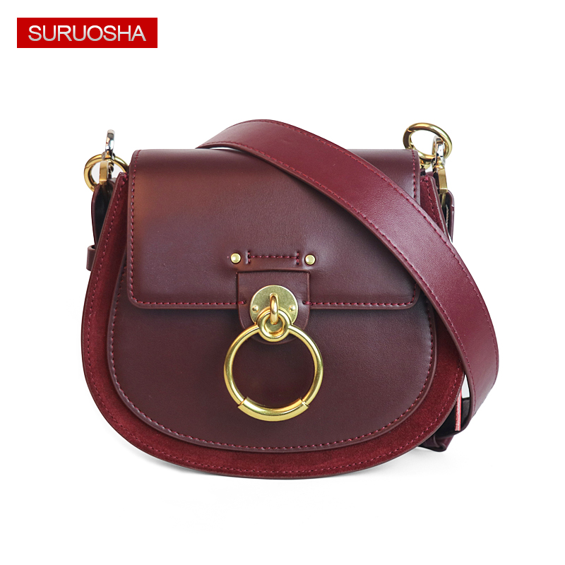 Genuine Leather Fashion Lady Leather Bag Women Saddle Bag Small Shoulder Bags Metal Ring Buckle Bag Suede Quality Round Handbags