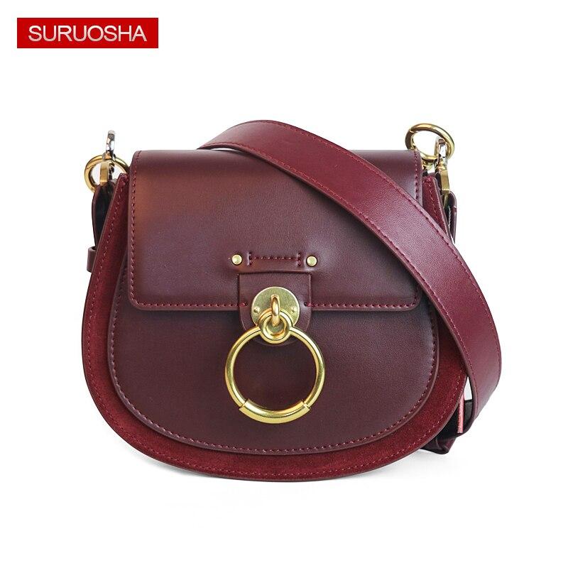 Véritable De Mode En Cuir Dame sac en cuir Femmes Selle Sac Petit sacs à bandoulière anneau en métal sac à boucle Suede Qualité Ronde Sacs À Main