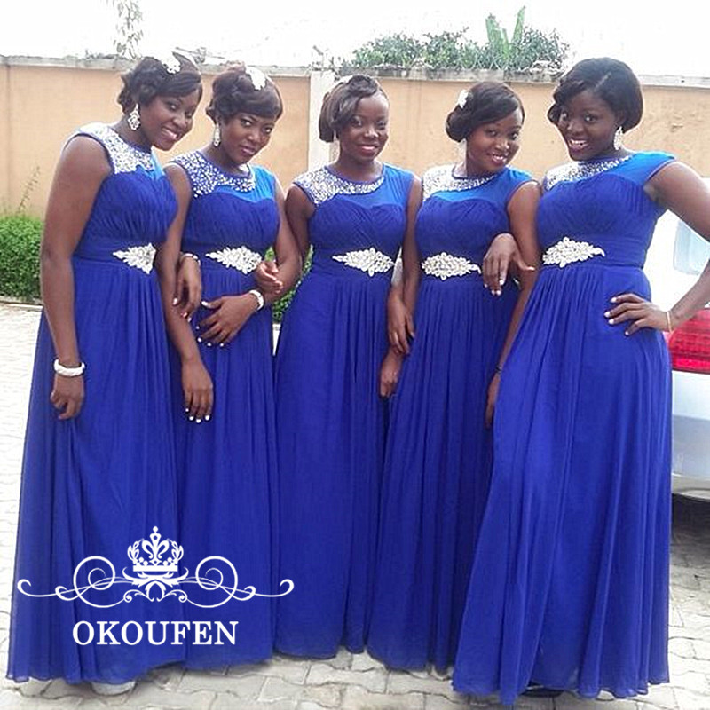 OKOUFEN Royal Blue Chiffon Long   Bridesmaid     Dresses   Bling Silver Beads Crystal Sheer Neck African Women A Line Party   Dress   Formal