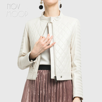 Korean style women white black genuine leather real lambskin plaid quilted jacket coat casaco feminino ropa mujer abrigos LT2401