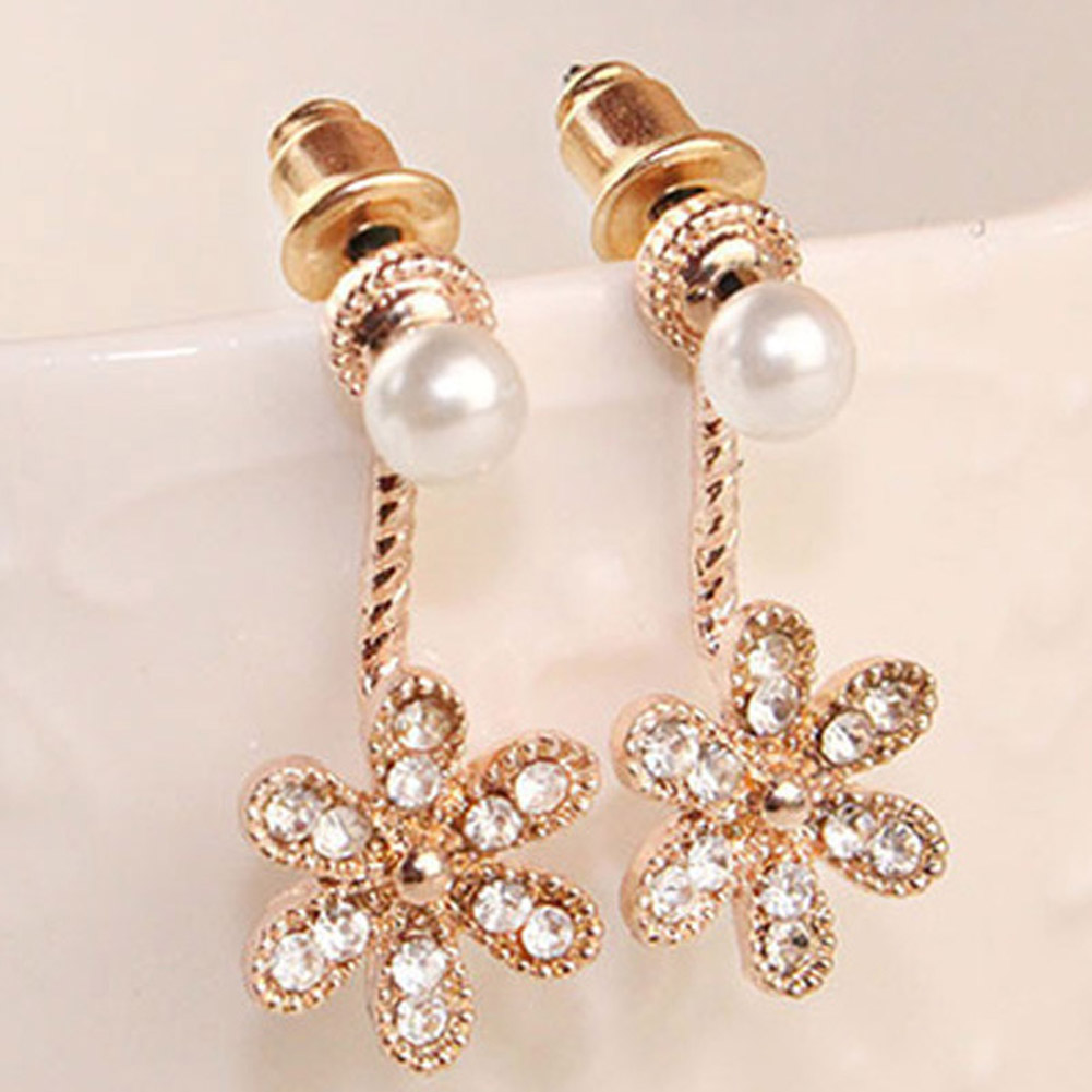 New Bijoux Flower Imitation Pearl Crystal Stud Earrings For Women Wedding Earings Girl Jewelry