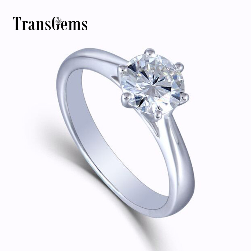 14K 585 White Gold 1ct 6.5mm F Near Colorless Brilliant Moissanite Engagement Rings Solitare for Women Gold 1 Carat on near la rings