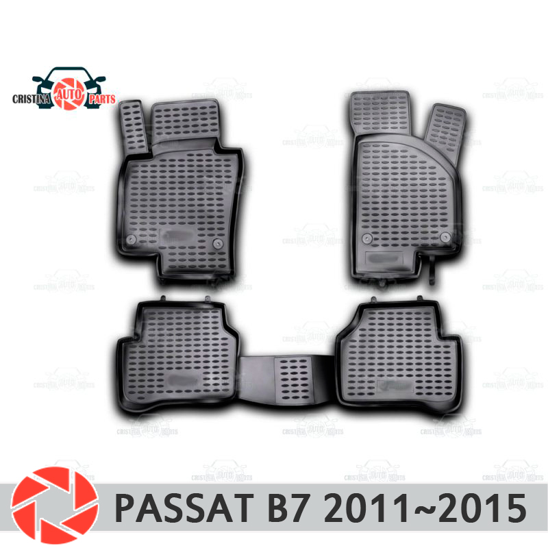 Floor mats for Volkswagen Passat B7 2011~2015 rugs non slip polyurethane dirt protection interior car styling accessories все цены