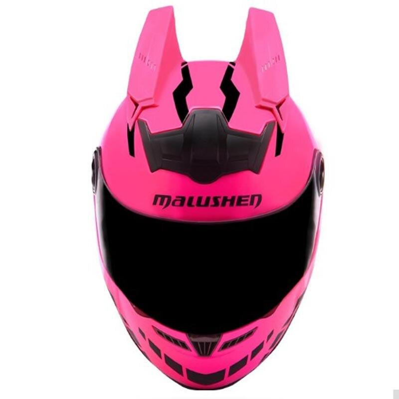 MALUSHEN Flip Up Casco Del Motociclo Personalità Moto Capacete Pieno Viso Caschi Da Corsa Capacete Casco ABS Materiale Casco Rosa