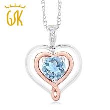 Gemstoneking стерлингового серебра 925 пробы и 10 К розовое золото сердце ожерелье для женщин аквамарин с diamond accent изящных ювелирных изделий