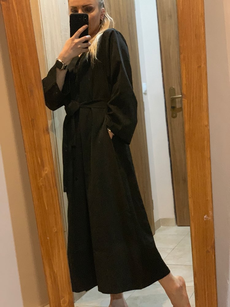 Women Autumn Long Shirt Dress Sexy V Neck Long Sleeve Maxi Vestido With Belt Vintage Plus Size Robe Femme Elegant Sukienki photo review