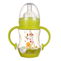Children handle silicon nipple cartoon shatter proof glass 160ml learn drinking wide caliber baby bottle on sale KD1263