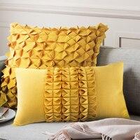 45x45/50x30cm unique creative stereo pleats yellow cushion cover flowers pillow case decorative pillow case for pillow covers