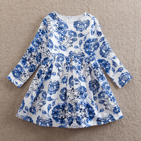 NEATbaby Girl Long Sleeve Dress Fashion Blue Pattern Print Pattern Clear Bright Girl Party Dress Comfortable