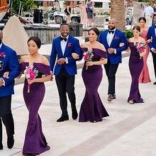 PEORCHID Off The Shoulder Roxo Vestidos Das Damas De Honra Para As Mulheres de Casamento Da Sereia Vestido de Festa Vestidos De Dama De Honra 2019