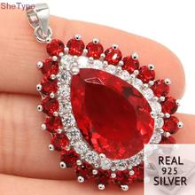 SheCrown 8.6g Pear Shape Red Ruby Natural White CZ Mother's Day Gift 925 Solid Sterling Silver Pendant 39x25mm