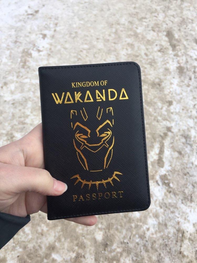 DIKEDAKU Wakanda Passport Holder Rfid Cross Pattern Pu Leather Cover Passport Marvel Asgard Passport Wallets Purse Drop Shipping photo review