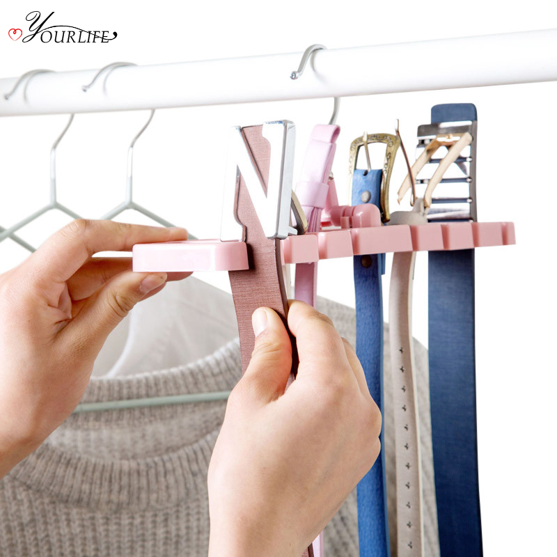 OYOURLIFE 1pc Creative Foldable Belt Tie Storage Rack Waist Belt Non-Slip Hanger Hook Wardrobe Closet Organize Holder
