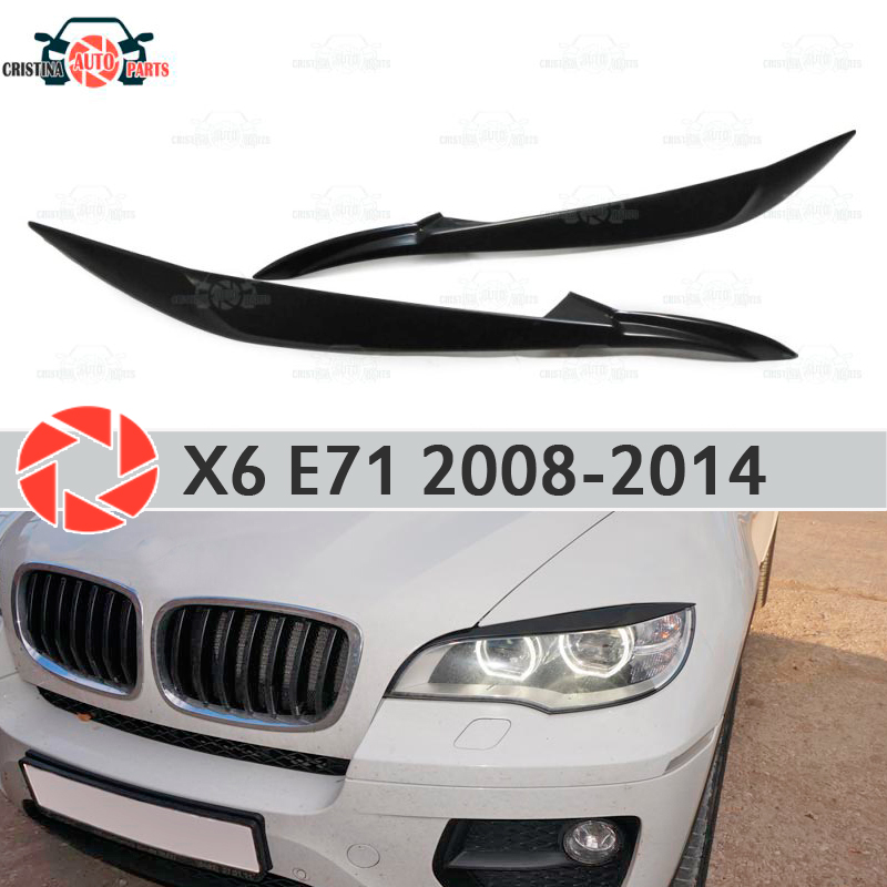 Eyebrows for BMW X6 E71 2008-2014 for LED headlights cilia eyelash plastic ABS moldings decoration trim covers car styling car styling for bmw