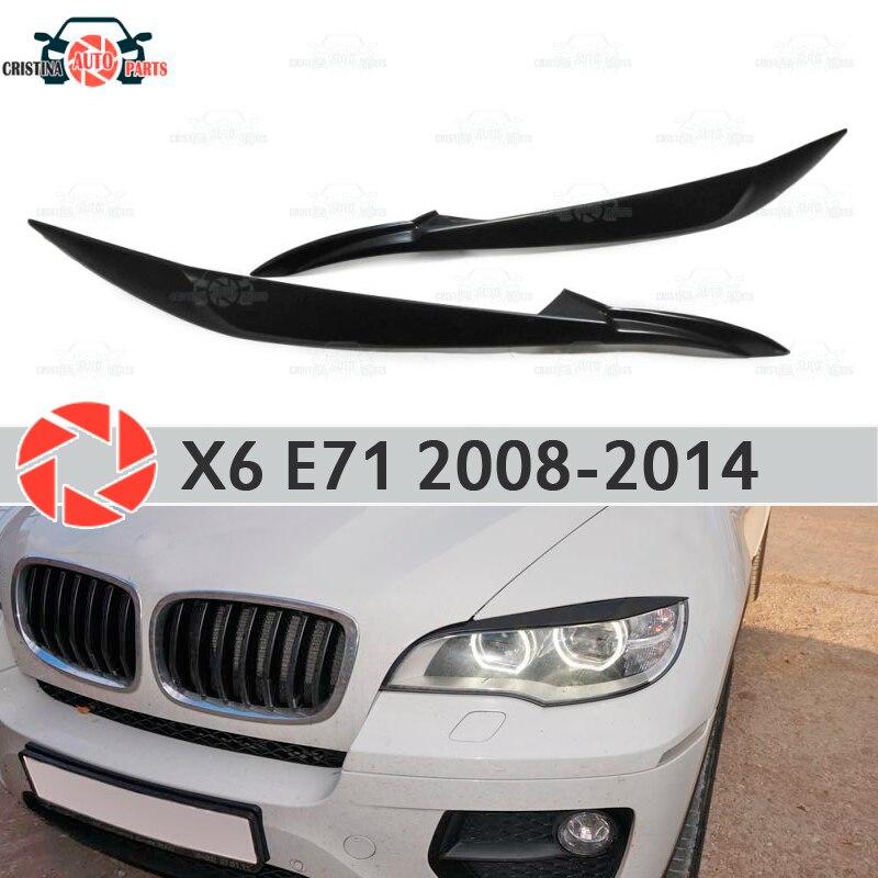 Sourcils pour BMW X6 E71 2008-2014 pour LED phares cils cils en plastique ABS moulures décoration garniture couvre voiture style