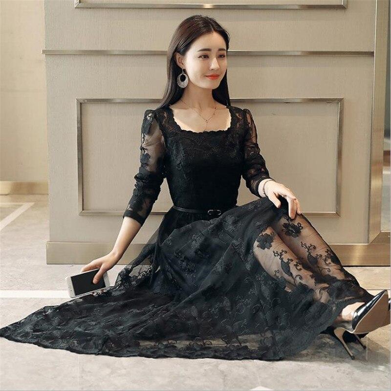 Sexy Crochet dentelle robe 2018 printemps femmes mode manches longues Maxi robes femme élégant soirée fête blanc longue robe CM2508 - 3