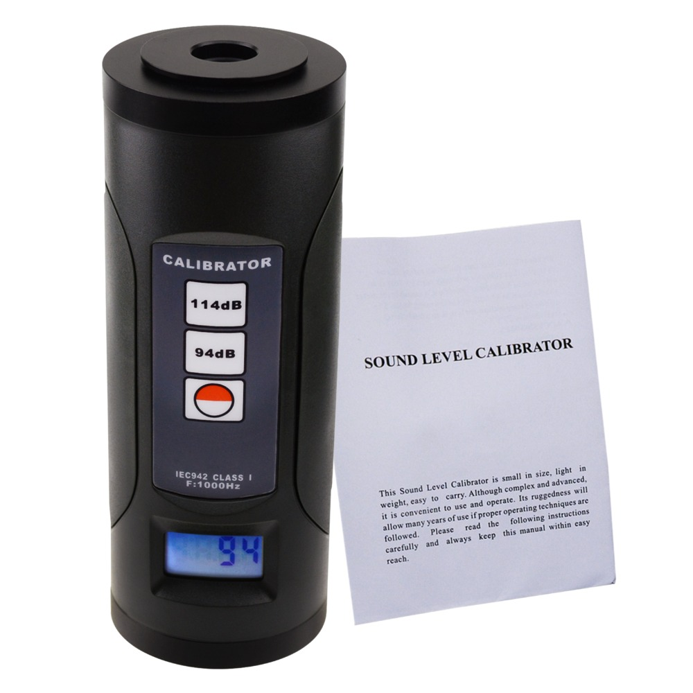 """Digital Sound Level Meter Calibrator 94dB & 114dB for 1/2"""" and 1"""" inch Microphone, Portable with Backlight, Calibration Tool-in Sound Level Meters from Tools    2"""