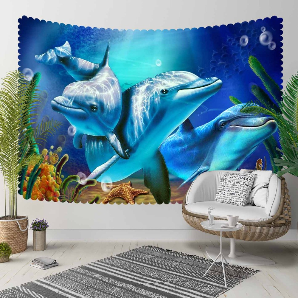 Else Tropical Blue Under Sea Swimming Dolphins Fish 3D Print Decorative Hippi Bohemian Wall Hanging Landscape Tapestry Wall Art