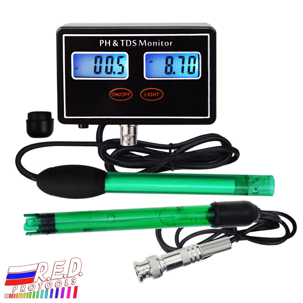 Digital Combo pH & TDS Monitor Meter Tester ATC, 0.00~14.00pH & 0.0~199.9ppt Water Quality Real-time Monitoring Rechargeable digital combo ph