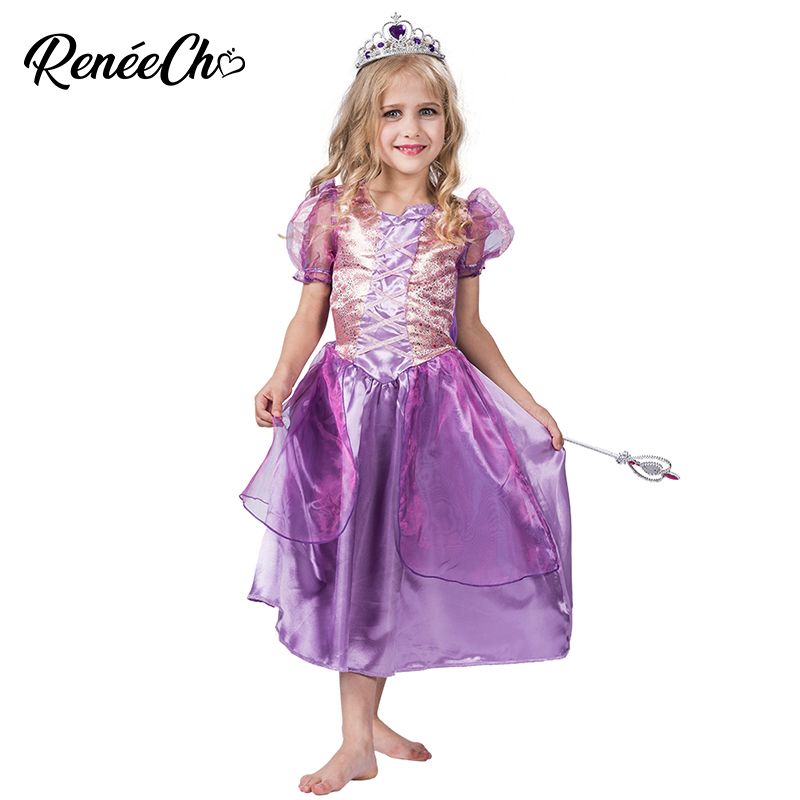 Halloween Costume For Kids Shinning Purple Princess Costume Carnival Costume Pink Flower Print Child Elena Birthday Party Dress