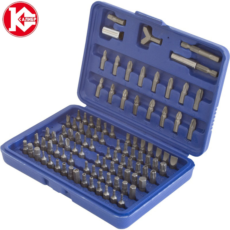 Kalibr NSU-100 pcs Screwdriver Bit Set Steel Pawl Socket Electric Screwdriver Set Head Interchangeable Combination Handle Tools tungsten steel grinding head rotary file carver set silver 20 pcs