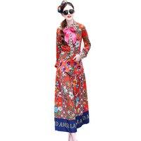אופנה באיכות גבוהה נשים בוהמית מקסי ארוך שמלות מסלול קשת הדפסת פרחי 4XL בתוספת גודל Vestidos שמלת כיס דקה