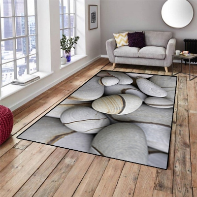 Else Gray Brown Lines Big Stones 3d Pattern Print Non Slip Microfiber Living Room Decorative Modern Washable Area Rug Mat