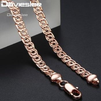 c46fc00dde45 Davieslee Amarillo Blanco Rosa oro cadena collares para Mujeres Hombres  Caracol enlace moda joyería hombres mujeres collar 7mm 45 cm DLGN326