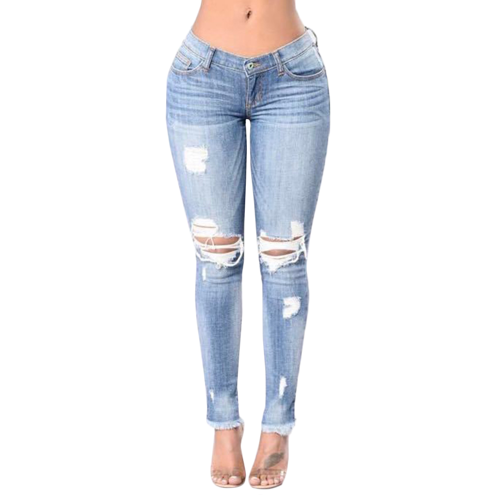 Ripped Fading Hole Jeans Women`s True Denim Skinny Distressed Jeans For Women Jean Pencil Pants Plus Size women s high street ripped knees jeans strech low rise denim pencil skinny pants trousers femme jeans for women jean hole jeans