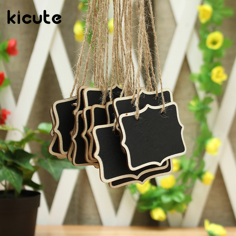 Kicute 10pcs Mini Wooden Message Board Blackboard Chalkboard With String Burlap Rope Black Board Wedding Home Party Decor Supply 10pcs mini retangle wood blackboard stand wedding party wooden tag black board chalkboard party office school supplies
