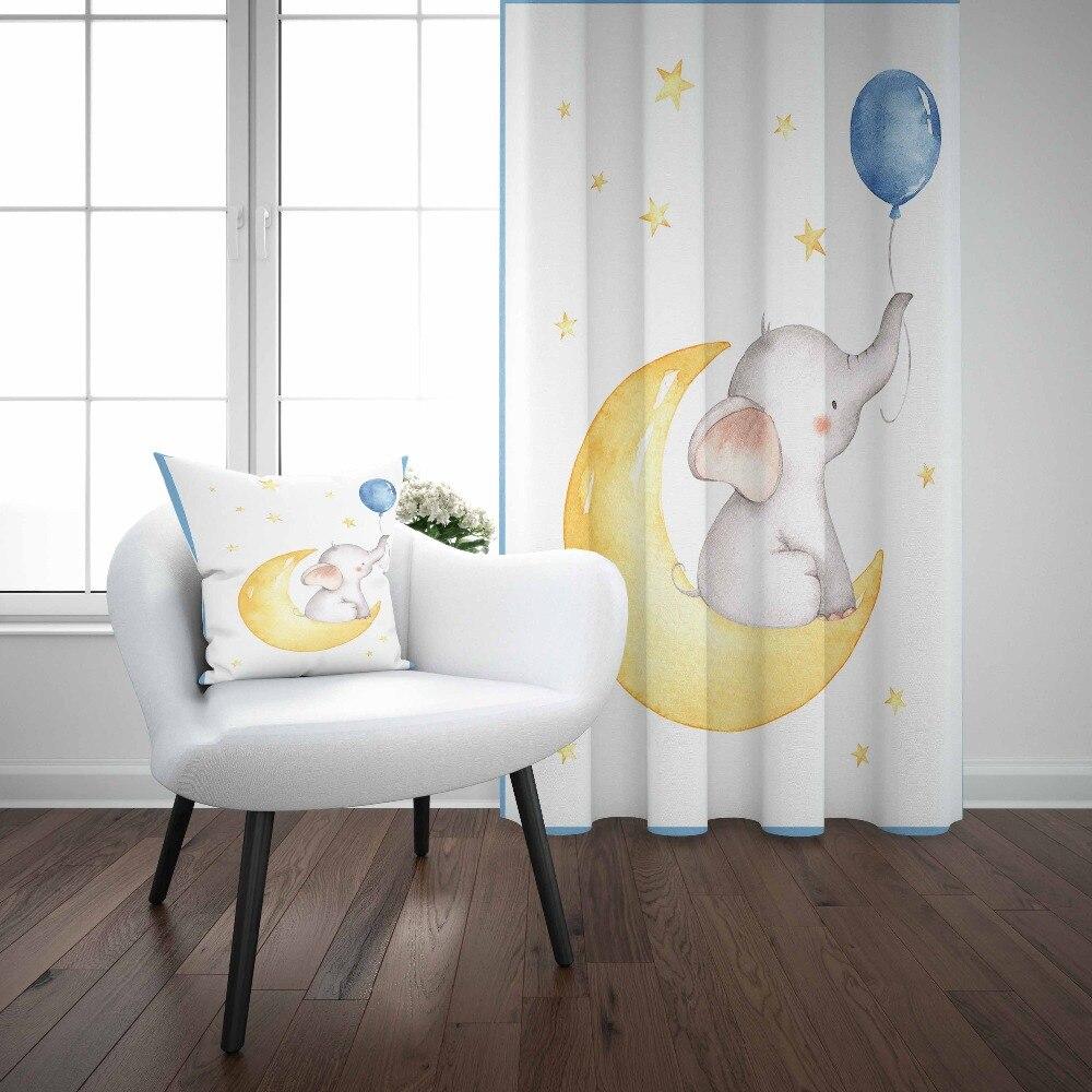 Else White Floor Yellow Moon Elephant Blue Balloon 3d Kids Print Baby Children Window Panel Set Curtain Combine Gift Pillow Case