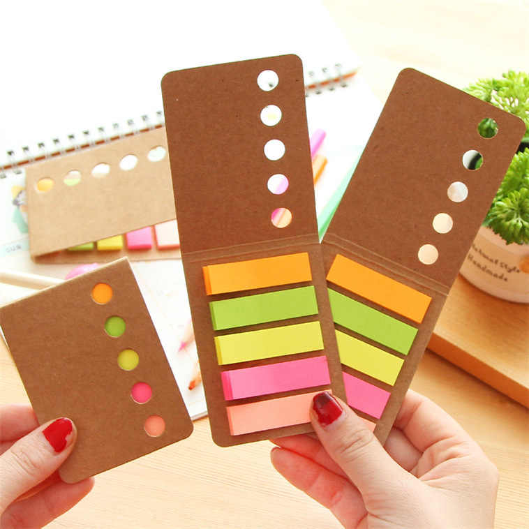 New Novelty Kraft Paper Cover Candy Color Memo Pad N-times Sticky Note Bookmark Notepad School Office Supply Student Prize Gift