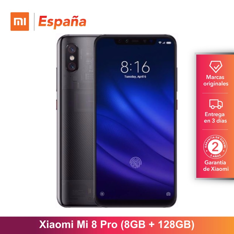 Global Version for Spain] Xiaomi Mi 8 Pro (Memoria interna de 128GB, RAM de 8GB ,Pantalla AMOLED de 6,21