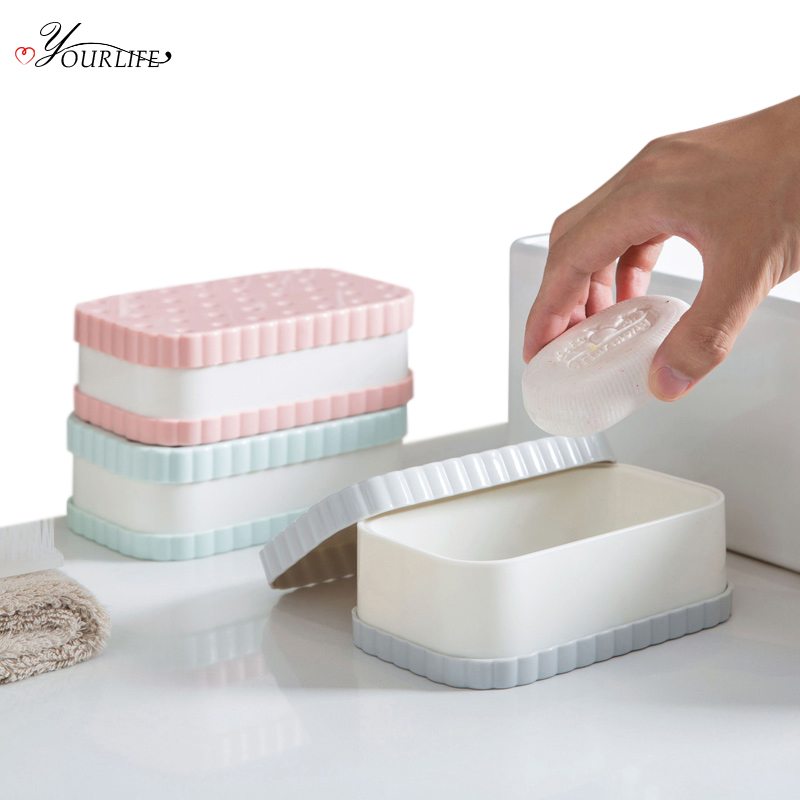 OYOURLIFE Cartoon Double-deck Soap Dish Portable Travel Soap Protect Container Bathroom Soap Holder Case Bathroom Products