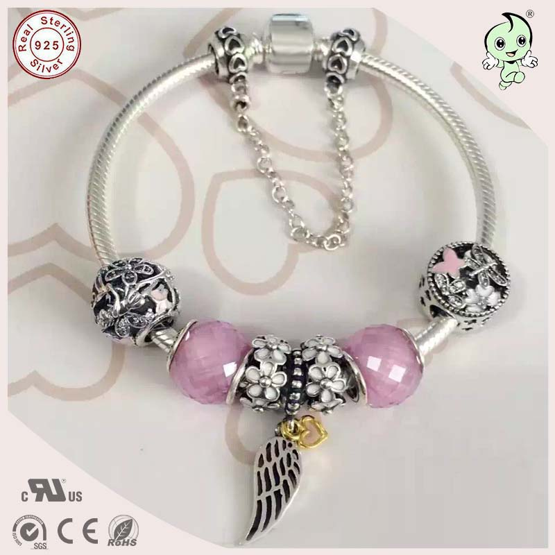 High Quality New Arrival Pink Series Silver Angel Wings And Silver Animal Charm And Animal Charm 925 Genuine Silver Bracelet