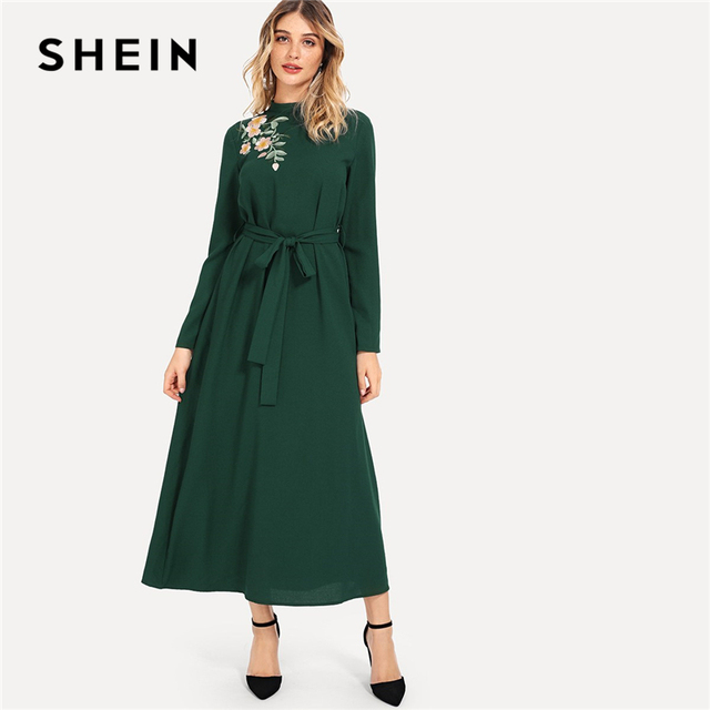 SHEIN Green Elegant Party Flower Embroidered Mock Neck Long Sleeve Belted  Natural Waist Maxi Dress Autumn c8b0a8c117